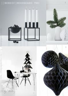 Kubus 4 by Lassen candleholder, Bloomingville porcelain origami vases and honeycomb paper balls, stylish black advent tree and Eames chairs - The Paper Mulberry: || CHRISTMAS | NORDIC - PURE