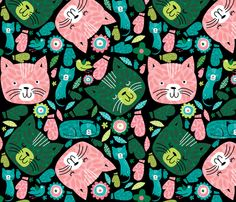 kitteh_in_mitteh fabric by laura_the_drawer on Spoonflower - custom fabric