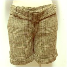 Wool blend, plaid, Drew fit shorts - The Limited Wool blend, plaid, drew fit shorts with removal belt, front slant pockets and back button pocket. The Limited Shorts