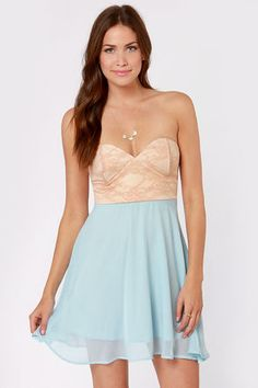 Check it out from Lulus.com! You might just want to kick up your heels and dance once you slip into the Ta-ra-ra Bustier! Nude and Light Blue Dress! Beige-y nude lace bustier bodice has a lightly cupped and boned bust, and pairs beautifully with a flowy light blue chiffon skirt that flares out toward the hem. Hidden back zipper. Fully lined. Model is wearing a size small. 100% Polyester. Hand Wash Cold. Made with Love in the U.S.A.