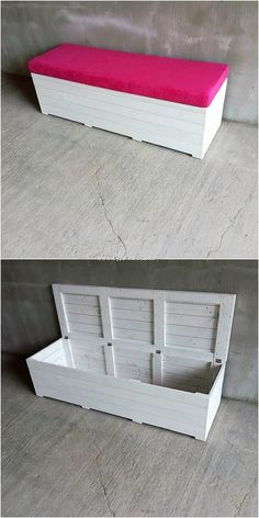 Cool and Creative DIY Ideas Out of Wood Pallets If you can't afford buying an expensive furniture accessories from the market, then hit your mind with the best idea of wood pallet seat with. Wooden Pallet Furniture, Diy Furniture Projects, Diy Pallet Projects, Wooden Pallets, Wood Projects, Skid Furniture, Pallet Wood, Wooden Pallet Crafts, Homemade Furniture