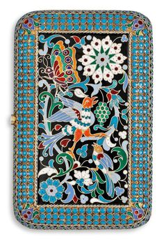 A RUSSIAN SILVER-GILT AND ENAMEL CIGARETT-CASE, MAKERS MARK OF PAVEL OVCHINNIKOV, MOSCOW 1880'S.