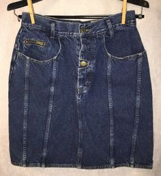 fdb8c03b30e Vintage WHIPP 80 s 90 s Size 13  14 Jean Skirt High Waist Blue Denim Button  Fly  WHIPP  StraightPencil  Casual
