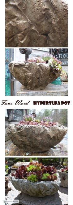Faux Wood Hypertufa Pot - DIY Tutorial for another great container for succulents. Rock Planters, Concrete Planters, Diy Planters, Concrete Molds, Planter Ideas, Garden Whimsy, Garden Junk, Farm Gardens, Small Gardens