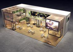 exhibition design on Behance Cafe Shop Design, House Design, Facade Design, Architecture Design, Casas The Sims 4, Container Architecture, Exhibition Booth Design, Cuisines Design, Next At Home