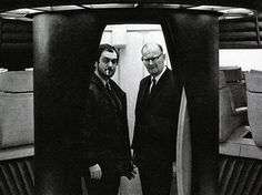Arthur Clarke and Stanley Kubrick on the set of 2001: A Space Odyssey.