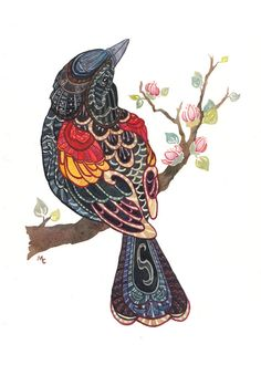 Watercolour Red-winged Blackbird Print Greeting Card I don't know how or where I would get this done, but the style and color is so beautiful.