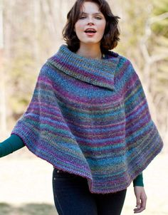 Free knitting pattern for Flutterwheel Poncho