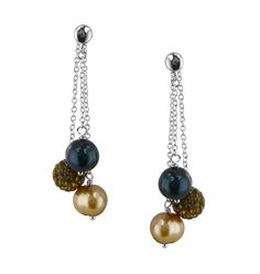 Sterling Silver 8-9mm Jet Leopard Round Ringed Freshwater Cultured Pearl and 8mm Pave Crystal Bead Drop Earring