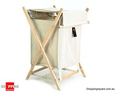 Foldable Laundry Hamper with Lid Canvas Wooden Frame Basket