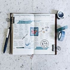 TN: 9 / 52 🗓 ================ Traveler's Notebook - Regular (Camel) Sarasa Clip 0.5mm - Vintage Blue Memento Dew Drop - Paris Dusk Classiky Washitape - Collage Classiky Washitape - Type B