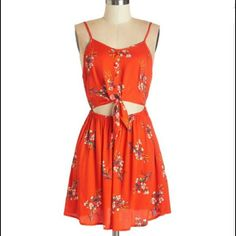 Sale Nwot Red Floral Modcloth Tank Dress | Hp |