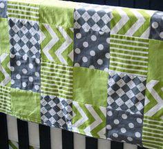 Custom Crib Bedding Lime green and grey by GiggleSixBaby on Etsy Nursery Room, Nursery Ideas, Crib Bedding, Baby Things, Gender Neutral, Green And Grey, Cribs, Blankets, Lime