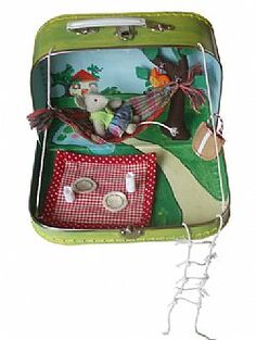 Cute toy suitcase home