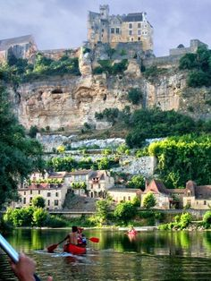 View of Chateau de Beynac from Dordogne River, France