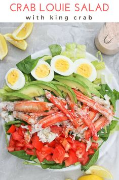 This King Crab Louie Salad is a lighter version of the classic Crab Louie, and is topped with steamed king crab and a spicy yogurt dressing. Seafood Salad, Seafood Dishes, Crab Recipes, Salad Recipes, Potato Recipes, Vegetable Recipes, Dinner Recipes, Crab Louie Salad, Fresco