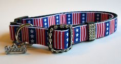 USA American Flag with Rhinestones Dog Collar via Etsy.