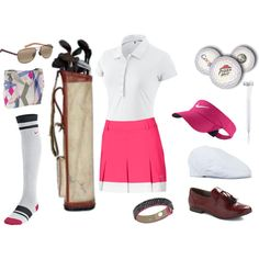 golfing :) by hayley-bell on Polyvore featuring Tiffany & Co., NIKE, Puma, Miss Patina, Swarovski, Maui Jim and Lock & Co Hatters