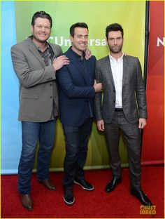 Blake Shelton, Carson Daly and Adam Levine.