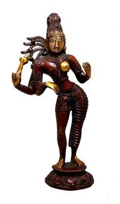 Indian Art God Shiva in Spiritual Male Female Twin Formation Brass Statue Kali Statue, Saraswati Statue, Lord Shiva Statue, Krishna Statue, Indian Gods, Indian Art, Brass Statues, Durga Goddess, Collectible Figurines