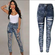 e43e6711e696 Bohemian Hollow Out Hole Torn Ripped Jeans Women High Waist Snow Blue Skinny  Jeans Mujer Push Up Sexy Hole Pantalon Femme 2017