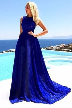 Blue Lace Sleeveless Dress BLUE: Maxi Dresses | ZAFUL