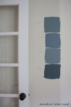 Choosing the Office Paint Color, ORC Week 3 - Meadow Lake Road. April 2015. She chose:  Benjamin Moore's Smokestack Gray, (2131-40), which is the top color in the photo above. I love how it looks dark gray in some light and dusty blue in others.