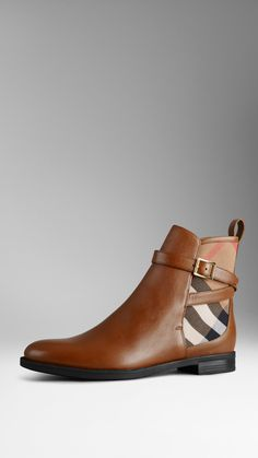 House Check Leather Ankle Boots | Burberry