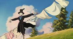 Howl's Moving Castle Hayao Miyazaki) / Cinematography by Atsushi Okui Studio Ghibli Art, Studio Ghibli Movies, Hayao Miyazaki, Totoro, Howls Moving Castle Wallpaper, Nausicaa, Studio Ghibli Characters, Castle Painting, Anime Places