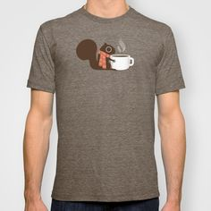 Squirrel Coffee Lover Holiday T-shirt by Jenn Inashvili | Society6