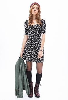 Floral Fit & Flare Dress | Forever 21 - 2000138617