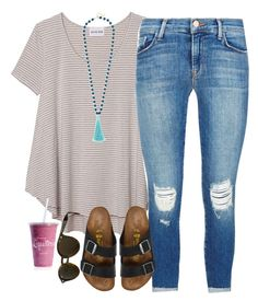 """""""please follow my close friend @bellprep00!! """" by smbprep ❤ liked on Polyvore featuring Olive + Oak, J Brand, Birkenstock, Ray-Ban and BaubleBar"""