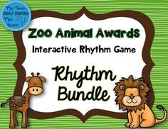 This set of 6 zoo-themed interactive games will have your students excited to read and perform rhythm. Each game comes with stick notation game and standard notation game.
