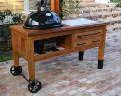 Grill Table or Grill Cart for Big Green Egg door RusticWoodWorx