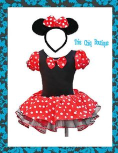 Minnie mouse costume Girl Baby Newborn/ Toddler Red Disney tutu dress / halloween costume / birthday party outfit / headband / STOCK