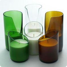 Botellas Cortadas Convertidas en Vasos para Velas.