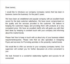 sample business introduction letter work related design