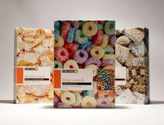 nice use of photography, stands out from other cereal brands.