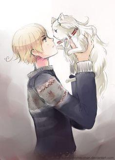 Lukas Bondevik with his cat