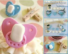 Be inspired by these beautiful and creative baby shower cakes and cupcakes and learn to make fondant pacifiers, perfect to celebrate a new bundle of joy! Baby Cupcake, Baby Shower Cupcakes, Shower Cakes, Fondant Cupcake Toppers, Fondant Baby, Baby Shower Cake Designs, Foundant, Wilton, Tutorials