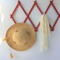 Red Peg Rack, Vintage Hat Rack, Expandable Peg Rack, Large Accordion Hanging Rack, Mud Room Rack, Herb Drying Rack, Mug Display Rack by AlegriaCollection on Etsy