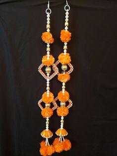 This listing is for a pair of door hanging with artificial marigold flowers. Diya Decoration Ideas, Diwali Decorations At Home, Handmade Decorations, Diwali Diy, Diwali Craft, Diy Crafts Hacks, Diy Home Crafts, Handmade Rakhi Designs, Diwali Candles