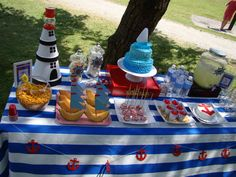 Nautical or Fishing Party 50th Birthday Themes, First Birthday Parties, Birthday Party Decorations, Birthday Ideas, Nautical Cake, Nautical Party, Baby Boy Birthday, Baby Shower, Pirate Party