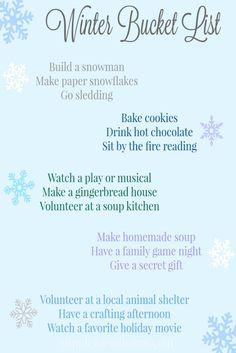 This is a lovely family winter bucket list.  It's a great way to approach this season with more intentionality, to have a good time together and make memories with the special people in your life.