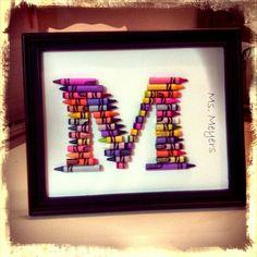 Monogram crayon art. So cute! Great teacher gift!