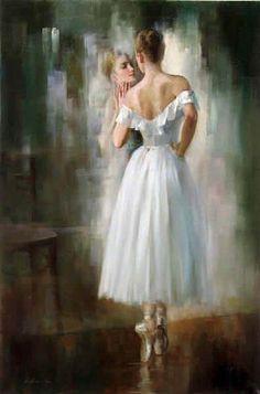 """Dancer at a Mirror Cross Stitch 125 x 190 pts  (18 pt=7""""x 10.5"""")   (20 pt=6.25""""x 9.5"""")"""