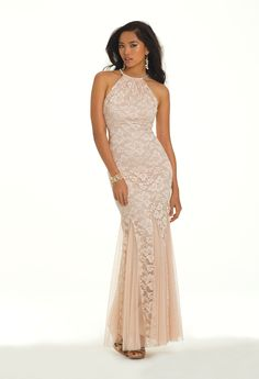 Camille La Vie Lace Long Halter Prom Dress