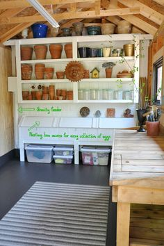 The interior of the potting shed at the historic Kraemer House, via GreenThumbWhiteApron.com