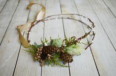 Pinecone Crown, Bridal Headpiece, Winter fairy crown, Natural Headband, Woodland wedding hair wreath, Gold halo, Forest, Fairy, Gold