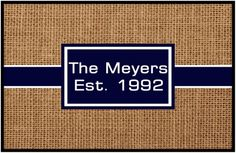 Classic personalized door mat. Perfect gift for any home.  www.mindymeyer.etsy.com